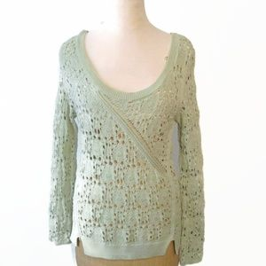 Anthropologie Knitted & Knotted Green Sweater Sml